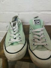Converse Trainers Size 4.5 Used Condition, Mint Green Canvas.