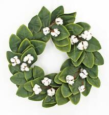 "Magnolia Mixed Cotton Greenery Wreath 22"""