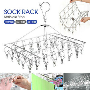 40/52/55 Pegs Stainless Steel Laundry Sock Underwear Clothes Dryer Rack Hanger
