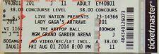 LADY GAGA ARTPOP BALL  ORIGINAL CONCERT USED TICKET, MGM GRAND LAS VEGAS 2014