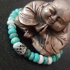 """Spiral Healing Bracelet sz 7.5"""" Tribal TriColor Turquoise Silver Infinity Celtic"""