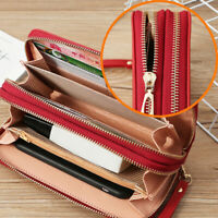 Women's Long Handbag Purse Leather Double Zipper Wallet Phone Holder Clutch Bag