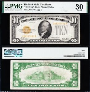 AWESOME Crisp Choice VF++ 1928 $10 GOLD CERTIFICATE! PMG 30! FREE SHIP! 55081A