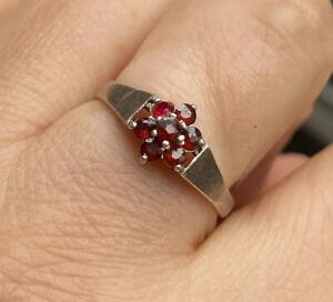 Vintage Silver Mark Sterling Silver Rose Cut Garnet Ring -Uk Size O