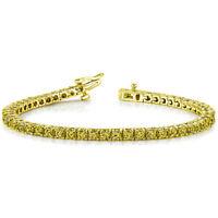 "8.22ct Fancy Canary Yellow Diamond 18k Yellow Over 7"" Tennis Eternity Bracelet"