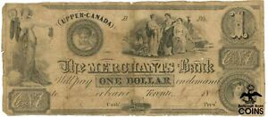 1840 Upper-Canada Merchants Bank Toronto $1 Obsolete Note /3 Ladies /Ship /Angel