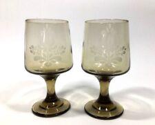 Pair of Vtg Pfaltzgraff Village Smoked Brown Goblet Stem Cordial Glasses - 6 OZ