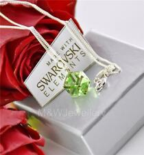 925 STERLING SILVER NECKLACE PENDANT CRYSTALS FROM SWAROVSKI® CUBE PERIDOT 8mm