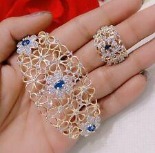 Indian AD Gold Tone Blue Stone Bracelet Rings Bridal Jewelry Fashion Lady Gift