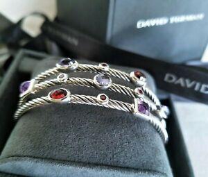 DAVID YURMAN RARE 3-Row Confetti Amethyst Garnet Iolite Bracelet - MINT! $1450