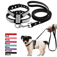 Rhinestone Crystal Suede Leather Dog Harness&Leash Soft Padded For Puppy S M L
