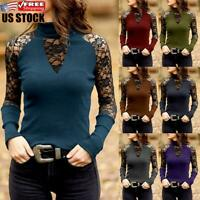 Womens Lace Shirt Long Sleeve Casual Blouse Ladies Stretch Slim Fit Tops T-shirt
