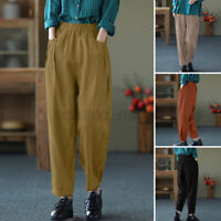 Women High Waist Straight Leg Harem Trousers Casual Loose Long Cotton Chino Pant