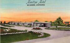 1940s Roadside Motel Manitzas Motel De Ridder Louisiana LA Linen Postcard !