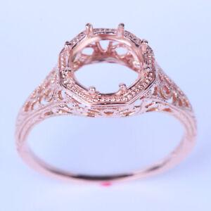 10K ROSE REAL GOLD 8MM ROUND CUT ENGRAVING ENGAGEMENT WEDDING SEMI MOUNT RING