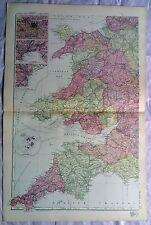 ENGLAND & WALES (Sud Ovest), anni 1890 Gate Mappa PIEGA