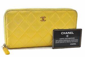 Authentic CHANEL Lamb Skin Matelasse Long Wallet Yellow CC D9687