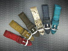 26mm Genuine PYTHON Leather Strap Gold Brown Band Tang Buckle PAM
