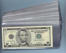 """**500 New Sleeves 3"""" x 7"""" for U.S Paper money / Banknotes"""