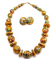 Vintage Pressed Resin beads necklace and earrings