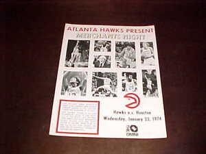 1974 Houston Rockets v Atlanta Hawks Basketball Program 1/23 Pete Maravich Cover