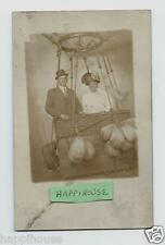 Vintage Real Photo Postcard Couple Posing in Hot Air Balloon Studio Prop