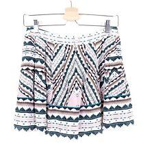 NANETTE LEPORE 2 100% Silk Mini Skort Skirt Shorts Pink Graphic Geometric Swing