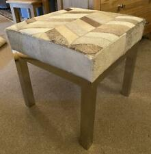 Cowhide Stool - Grey & White Colour - Silver Steel Legs - Hair on Cowhide