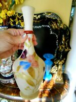MT WASHINGTON PAIRPOINT SATIN GLASS Vase French  Hand Painted