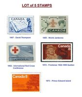 Lot of 5 Canada Stamp - Jamboree Scout, Frontenac, David Thompson Red Cross PEI