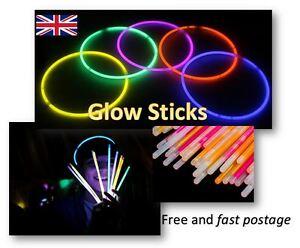 "8"" Glow Stick(s) Bracelet Necklaces Headbands Festivals Concerts Parties Neon UK"
