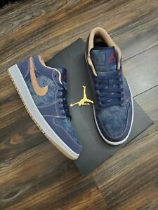 Nike Air Jordan 1 Low SE AJ1 Denim Blue Gold Men sneakers DH1259-400 Size 8