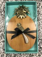 Pineapple Oval Cutting Cheese Board with Spreader Knife. New, Wood, Set of 2