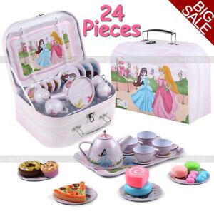 Kids Girl Child Pretend Play Kitchen Cooking Toys Set Tea Cups Saucers Bowl Pot