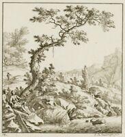 """Bullinger, Darstellung aus """"50 Landschaften mit Reisenden"""", Rad. 12"""