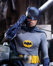 ADAM WEST BATMAN 8X10 PHOTO ON TELEPHONE IN BATCAVE