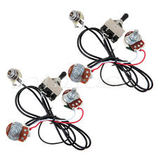 2 sets 3 way toggle switch electric guitar wiring harness 2 volume 2 set electric guitar wiring harness kit 3way toggle switch volume tone 500k pot
