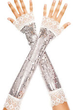 Sexy Music Legs Silver Elbow Length Sequin w Lace Trim Arm Warmers