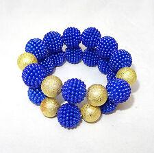 Blue with Gold Ball Fashion Custom Bracelet African Beads Fashion Bracelet