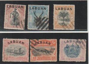 1894-96 MALAYSIA MALAYA LABUAN OVERPRINTED ON NORTH BORNEO SHORT SET OF 6 CTO
