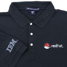 "Red Hat IBM Men XL 48"" Golf Polo Shirt Black 100% Pima Cotton Software Computer"