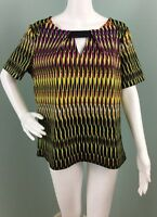 NWT Womens bar III Short Sleeve Multi Color Print Keyhole Shirt Top Sz L large
