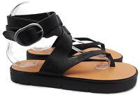 Women's ALL SAINTS Montana Black Leather Thong Ankle Strap Sandals Size EU 39