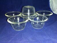 4-Vintage Glasbake Clear Glass Custard Ramekin Dish #285, 2- Vintage Pyrex #414