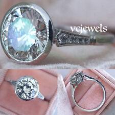 1.60 Ct Brilliant White Round Bezel Set Diamond Art Deco Wedding Ring 925 Silver