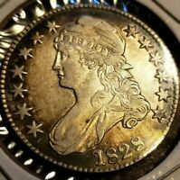 1828 Capped Bust Half Dollar, Sm-8's Sq-2 Lg Ltrs Collector Coin in AU Condition