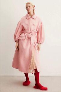 Simone Rocha x H&M HM Pink Tweed Tinsel Coat S