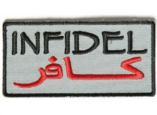 "(ZDO) INFIDEL Gray Arabic 3.5"" x 1.75"" iron on patch (3998D) Biker Military"