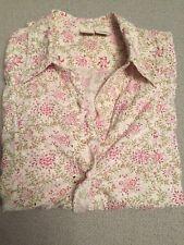 "Womens ""johnny Cotton"" Floral Blouse W Ruffle Detail Sz S"