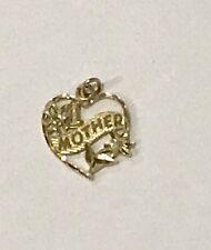 #1 MOTHER PENDANT CHARM SOLID REAL 14K GOLD MOM HEART FLOWER GIFT ~ VINTAGE